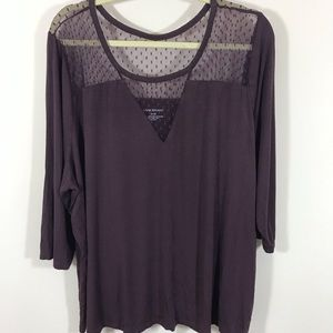 LANE BRYANT JERSEY TOP WITH LACE DETAIL SIZE 26/28